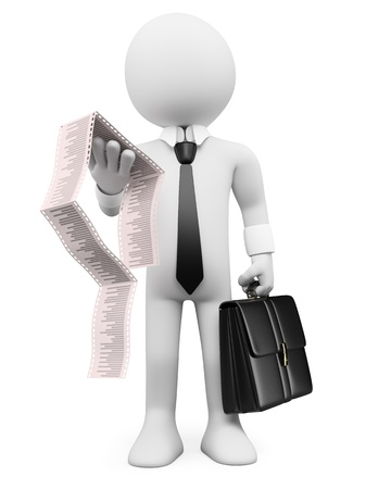 worried executive: 3d white business person with a briefcase and invoices. 3d image. Isolated white background. Stock Photo