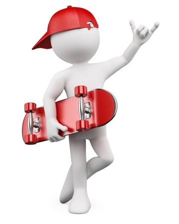 skateboard boy: 3d white person with a skate and a cap. 3d image. Isolated white background.