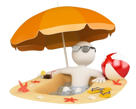3d white person in the beach with umbrella, slippers, ball and a drink. 3d image. Isolated white background. photo