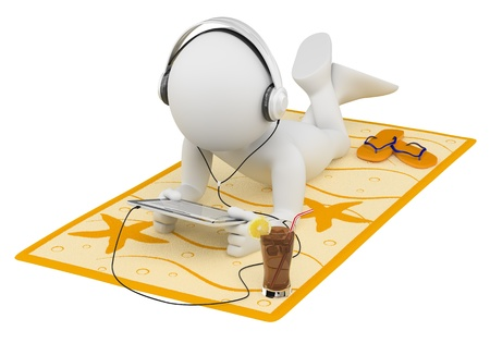 3d white person lying on a towel reading with a tablet and headphones. 3d image. Isolated white background. photo