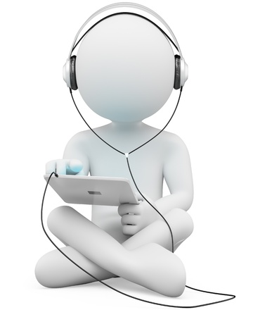 earbuds: 3d white person sitting cross-legged with a tablet and headphones. 3d image. Isolated white background. Stock Photo