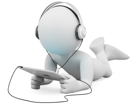 using tablet: 3d white person lying with a tablet and headphones  3d image  Isolated white background  Stock Photo