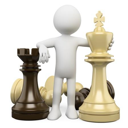 �checs: 3d personne de race blanche avec des pi�ces d'�checs, image 3d strat�gie notion isol� sur fond blanc