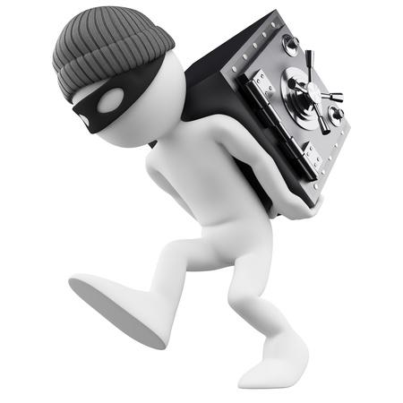 ladrones: 3d persona blanca ladr�n de bancos con una caja fuerte en su imagen de nuevo 3d fondo blanco aislado