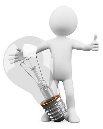 innovacion: 3 � persona blanca con una bombilla, la imagen de la idea 3d concepto aislado fondo blanco