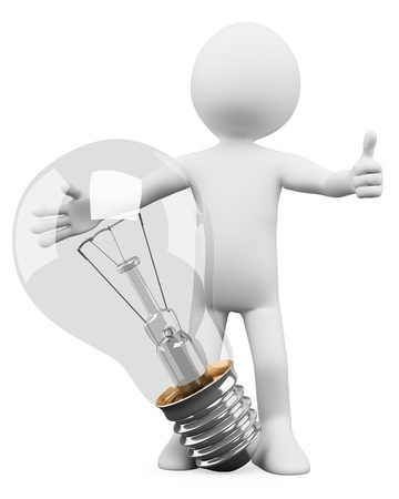 3d white person with a bulb, idea concept  3d image  Isolated white background