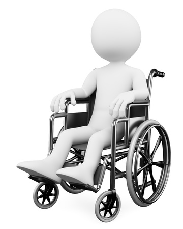 impairment: 3d white person handicapped in a wheelchair. 3d image. Isolated white background.