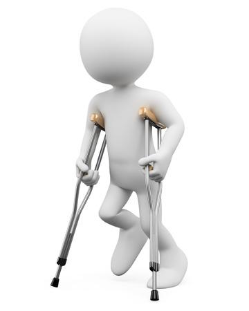 discapacitados: 3 � persona blanca con muletas. Imagen en 3d. Aislado fondo blanco. Foto de archivo