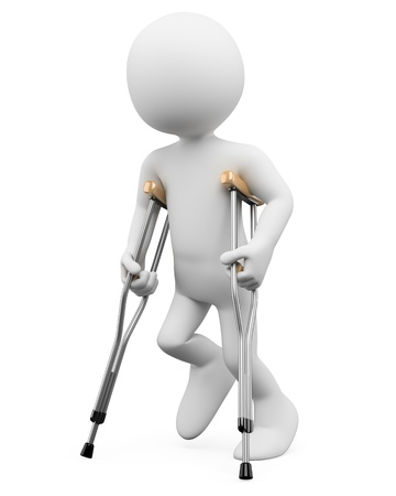 injure: 3d white person on crutches. 3d image. Isolated white background.