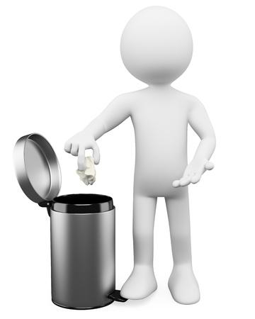 cesto basura: 3 ª persona blanca lanzando un papel en la papelera. Imagen en 3d. Aislado fondo blanco.