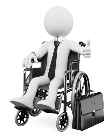 disabled person: 3d white business person handicapped with thumb up. 3d image. Isolated white background.