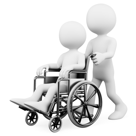 injured person: 3d white person pushing a handicapped person who is sitting in his wheelchair. 3d image. Isolated white background. Stock Photo