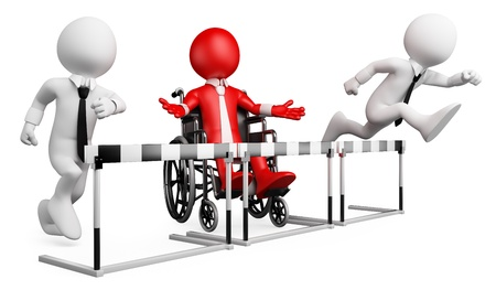 discrimination: 3d white business person disabled in a hurdle race. 3d image. Isolated white background. Stock Photo