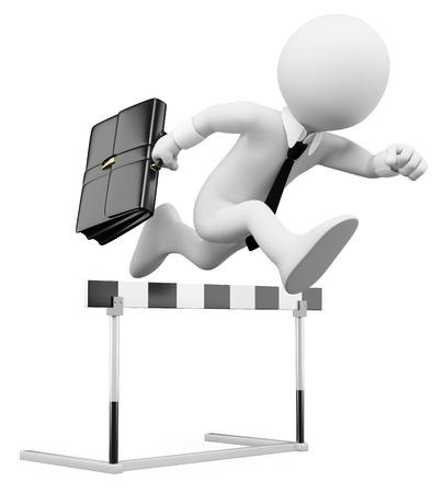 obstacles: 3d white business person in a hurdle race. 3d image. Isolated white background.