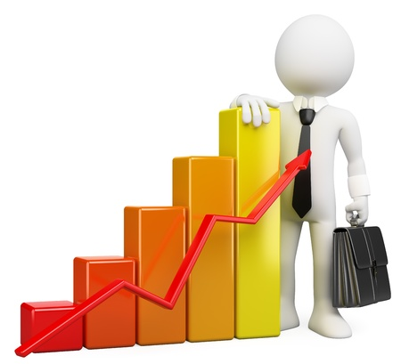 rising graphic: 3d white business person with a growing bar graph. 3d image. Isolated white background. Stock Photo