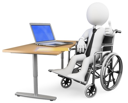 equality: 3d white business person disabled working at office. 3d image. Isolated white background.