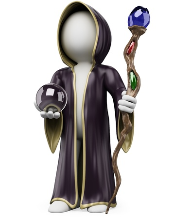 3d white person with a witch costume staff and crystal ball on Halloween. 3d image. Isolated white background.