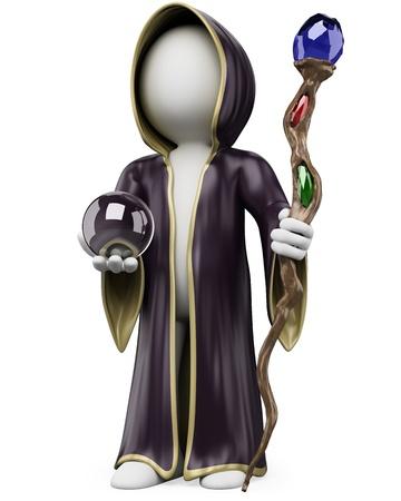 merlin: Persona 3d blanco con un traje de la bruja del personal y la bola de cristal en Halloween. Imagen en 3D. Aislado fondo blanco.