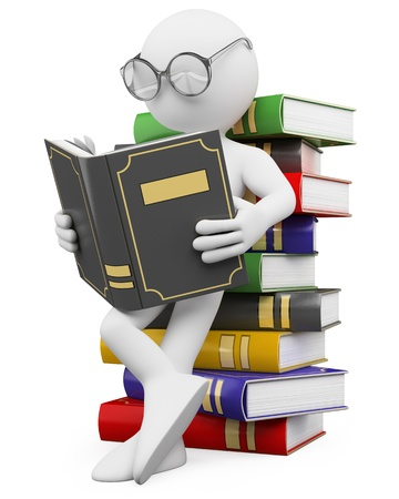 3d white person leaning on a pile of books reading  3d image  Isolated white background