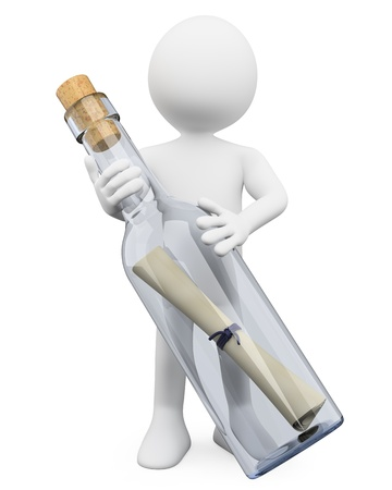 3d white person with a huge message in a bottle  3d image  Isolated white background   Stock Photo - 15098331