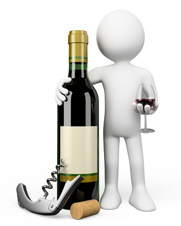 wine bottle: 3d white person Sommelier with a bottle of red wine a corkscrew and a glass Stock Photo