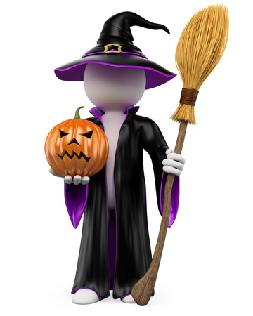 3d scary: 3D halloween white people. Witch dressed in a black and purple robe and hat with a pumpkin and a flying broom Stock Photo