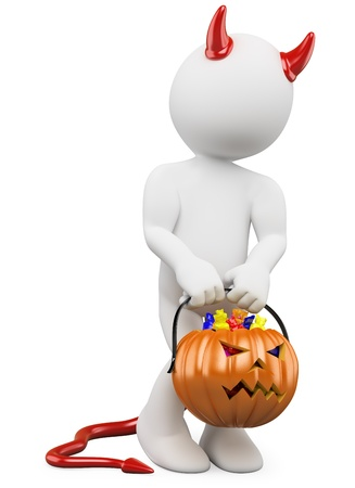 shy girl: 3D halloween white people. Child dressed as devil with a pumpkin full of candy in halloween day Stock Photo