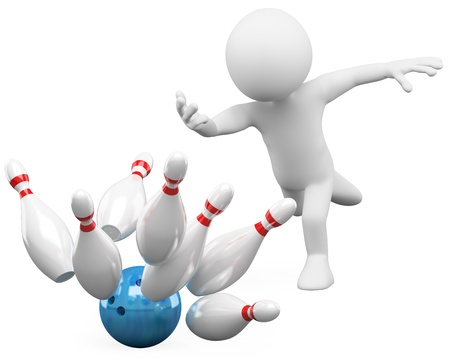 3d white person bowling having fun  3d image  Isolated white background   photo