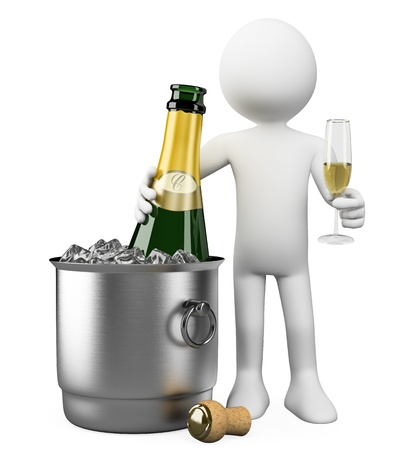 uncork: 3d white person with champagne bottle in bucket with ice and glass of champagne  3d image  Isolated white background