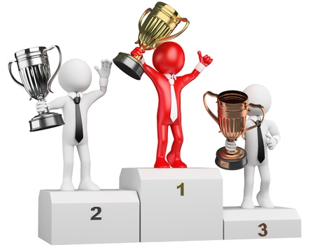 team winner: 3d white business person on the the podium with trophies  3d image  Isolated white background  Business people on the podium