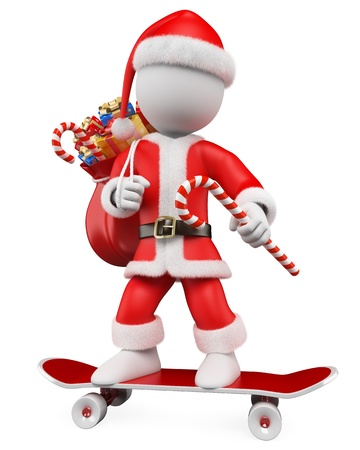 kris: 3d white christmas person  Santa Claus riding skateboard with a sack full of gifts  3d image  Isolated white background  Stock Photo
