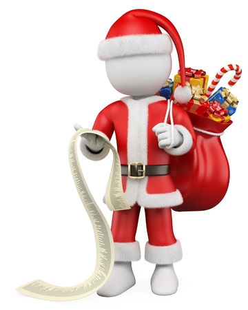 3d white christmas person  Santa Claus reading a long list of gifts with a sack of gifts  3d image  Isolated white background