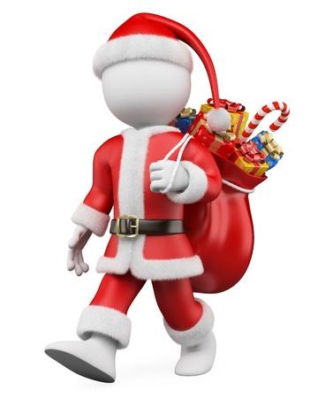 3d white christmas persona Papá Noel camina con un saco lleno de regalos imagen 3d fondo blanco aislado