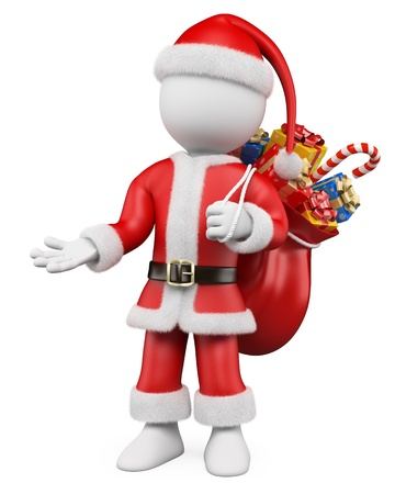 3d white christmas person  Santa Claus pointing with one hand to the side and a sack full of gifts  3d image  Isolated white background Stock Photo - 15446972