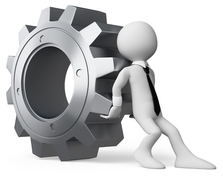 3d white business person pushing a huge gear. 3d image. Isolated white background. Imagens