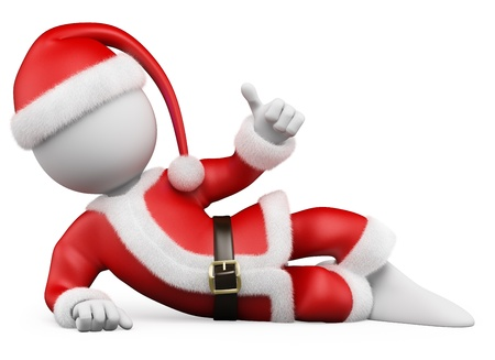 3d white christmas person with a Santa Claus costume lying with thumb up. 3d image. Isolated white background.  photo