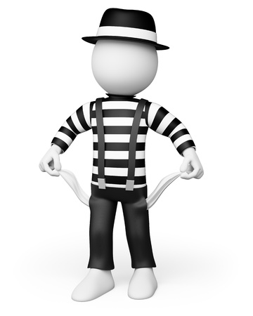 penniless: 3d white person victim of the crisis with empty pockets without money. 3d image. Isolated white background.