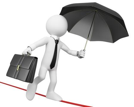 3d blanco hombre de negocios haciendo equilibrio con una cartera y un paraguas. Imagen en 3D. Aislado fondo blanco. Foto de archivo
