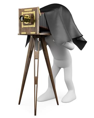 cinema old: 3d persona bianca di scattare una foto con una macchina fotografica d'epoca. Immagine 3D. Isolato su sfondo bianco.