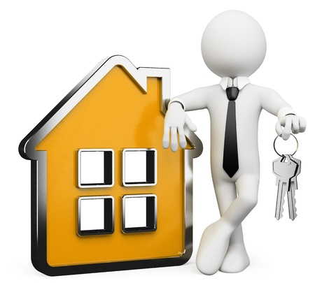 home buyer: 3d white business person with a conceptual house and a bunch of keys. 3d image. Isolated white background.