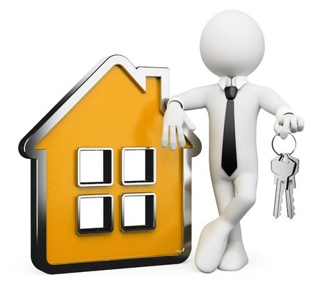 3d witte zakelijke persoon met een conceptuele huis en een sleutelbos. 3d beeld. Geïsoleerde witte achtergrond.