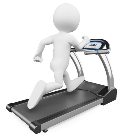 cardio workout: 3d white person running on a treadmill. 3d image. Isolated white background. Stock Photo