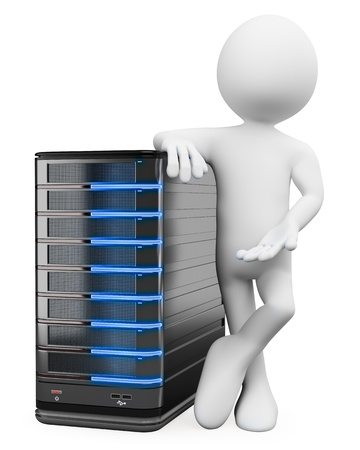 data backup: 3d white person with a storage web server . 3d image. Isolated white background. Stock Photo