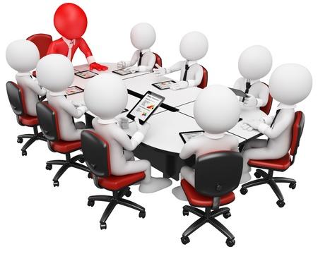 reuniones empresariales: 3d blanco hombre de negocios en una reuni�n con el equipo Tablet PC. Imagen en 3D. Aislado fondo blanco.