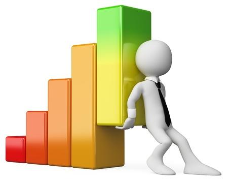 estadisticas: 3d hombre de negocios blanco ayudar a la econom�a a crecer. Imagen en 3D. Aislado fondo blanco.