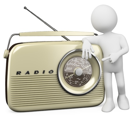 fm: 3d white person with a huge vintage radio. 3d image. Isolated white background. Stock Photo