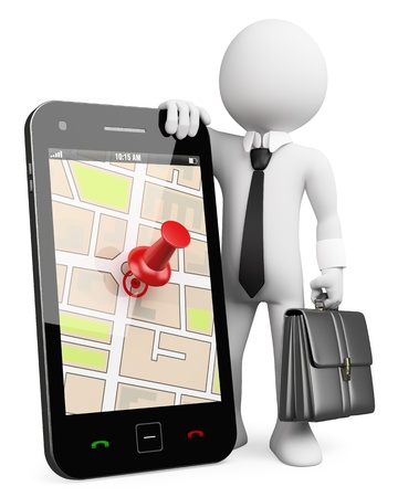 gps: 3d white business person with a mobile phone running a GPS application . 3d image. Isolated white background.  Stock Photo