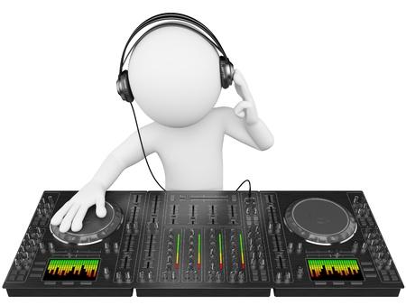 geluid: 3d blanke disc jockey met een mixer en een koptelefoon. 3d beeld. Geïsoleerde witte achtergrond.
