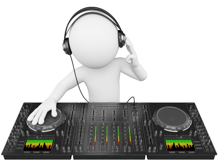 and sound: 3d persona blanca disc jockey con un mezclador y los auriculares. Imagen en 3D. Aislado fondo blanco.