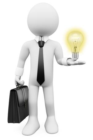 ideas brillantes: 3d blanco hombre de negocios con una bombilla met�fora idea luz. Imagen en 3D. Aislado fondo blanco. Foto de archivo